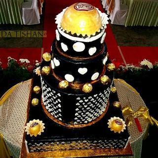 FERRERO ROCHER THEME WEDDING CAKE