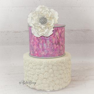 Pink and Silver Crackle Finish and Rose Bas-Relief Design - Cake by CrktCoop