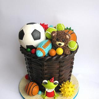 Toy storage cake....mostly balls