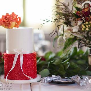 Fire Rose + Red Glitter Cake - Cake by Enticing Icing