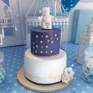 #Goldcake, #blueandgoldcake, #firstbirtdaycake