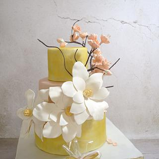 Gold and cherry blossom wedding cake - Cake by  Despina Vrochidou