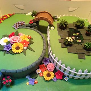 Garden cake for a 60th birthday - Cake by Enchanting Cupcakes hobby cakes