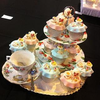 Tea Party Cupcakes - Cake International Birmingham 2014 - GOLD!!