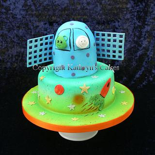 Space Themed Birthday Cake and Dessert Table