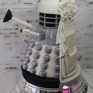 Dalek half and half wedding cake