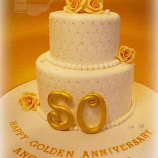 50th Golden Wedding Anniversary Cake