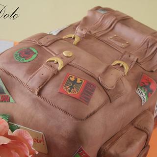 Vintage backpack cake