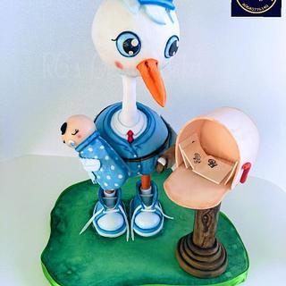 Stork babyshower cake - Cake by Radha's Bespoke Bakes