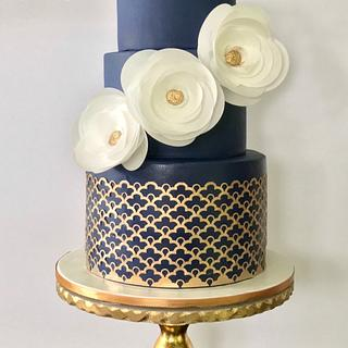 Navy Gold Birthday Cake