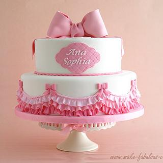 Pink Ruffles Baptism Cake - Cake by Make Fabulous Cakes
