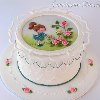 The girl watering roses - Cake by Anastasia