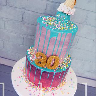 Neon Drip Cake