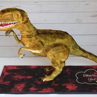 Velociraptor 3D sculpted cake
