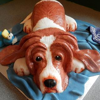 Bassett Hound and his favourite toy - Cake by barbscakes