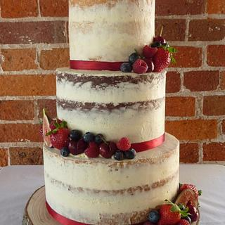 Semi Naked Vegan Wedding Cake in Dorset