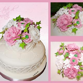 Peonies Pink Sugar Flower Wedding Cakes