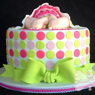 Pink & Lime Green baby shower cake - Cake by Gen