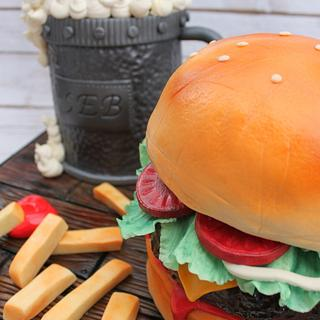 floating beer can cake and hamburger cake