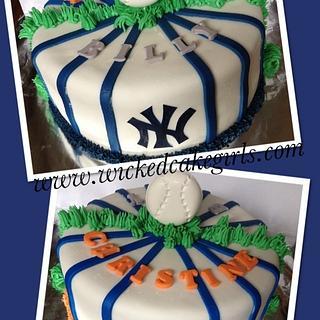 Baseball rivals engagement cake - Cake by Wicked Cake Girls