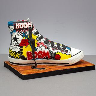 Kapow!! Comic Inspired Converse Trainer by The Honeybee Cakery...