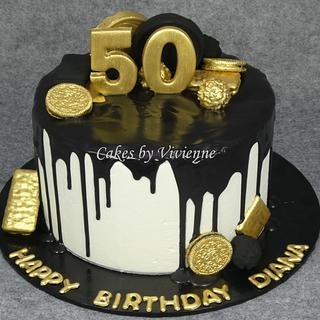 Black and Gold 50th Birthday Cake - Cake by Cakes by Vivienne