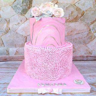 Engagement cake rose ruffles