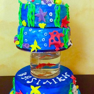 Ariel cake with real fishes !!