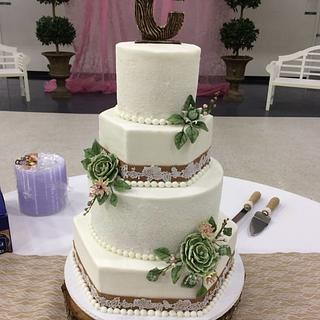 Burlap and Succulent Wedding Cake