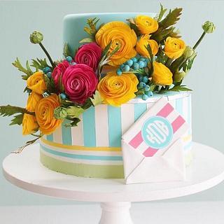 Bright Sugar Flowers and Stripes Birthday Cake