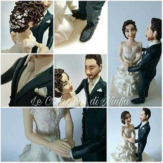 Topper sposi realistici in pasta di zucchero