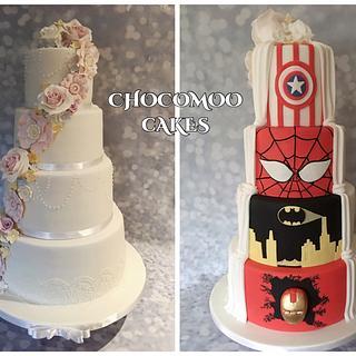 Half superhero and half wedding cake