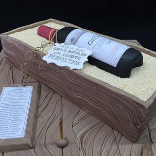 Wine bottle and wooden crate - Cake by Galatia