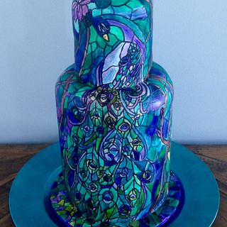 Stained glass peacock cake - Cake by Mimi's Sweet Shoppe Amanda Burgess