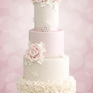 Pink and Ivory Ruffle Cake