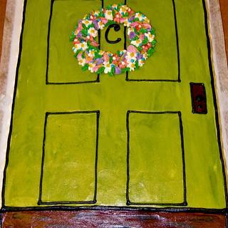 House warming cake Buttercream Door & wreath