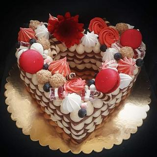 Romantic red tart cake