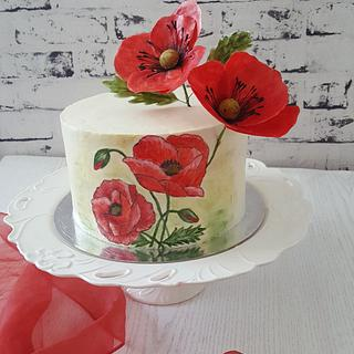 Painted Poppies Cake
