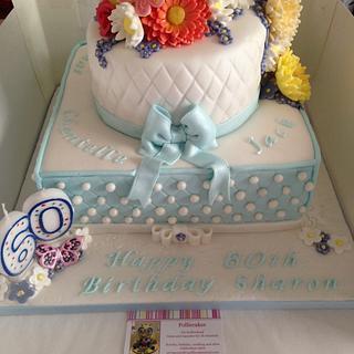 Flowers, diamonds and pearls 60th birthday cake - Cake by Polliecakes