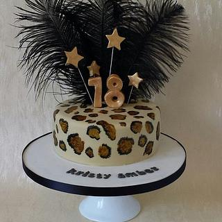 Handpainted Leopard Print cake with feathers