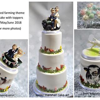 Handpainted farming wedding cake