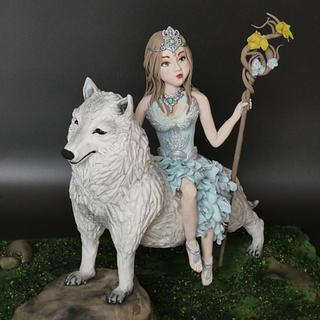 Girl with wolf