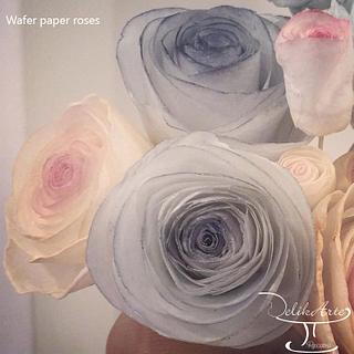 Wafer paper roses for a wedding cake