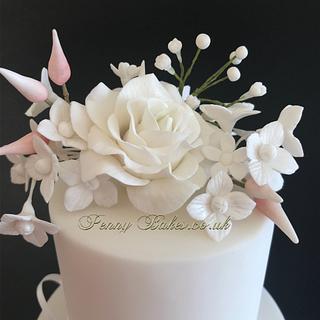 Peachy ruffle wedding cake