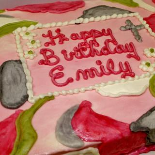 Pink camo cake in buttercream