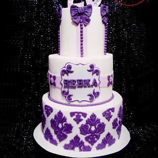 WHITE and PURPLE BIRTHDAY CAKE