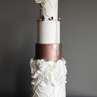 Copper Couture Wedding Cake