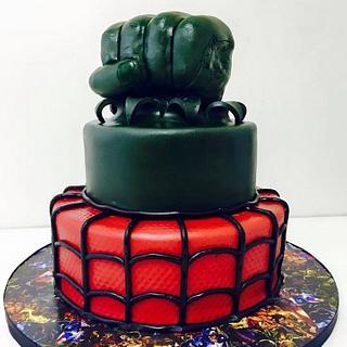 Spider-Man and Hulk cake