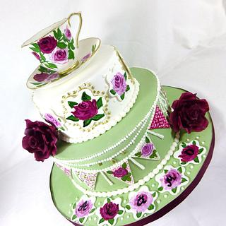 Free Hand Painted English High Tea Party cake with hand painted cup and saucer.