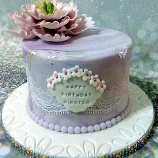 Open Peony & Lace Cake